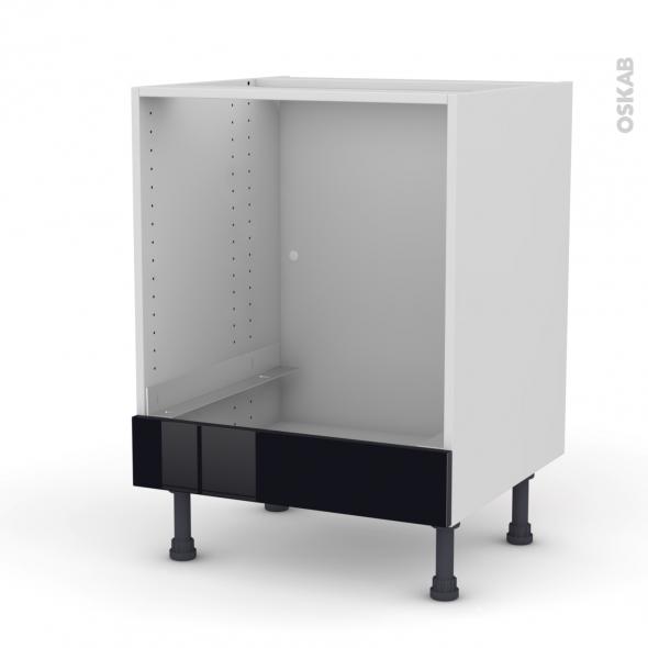 meuble de cuisine bas four keria noir bandeau bas l60 x h70 x p58 cm