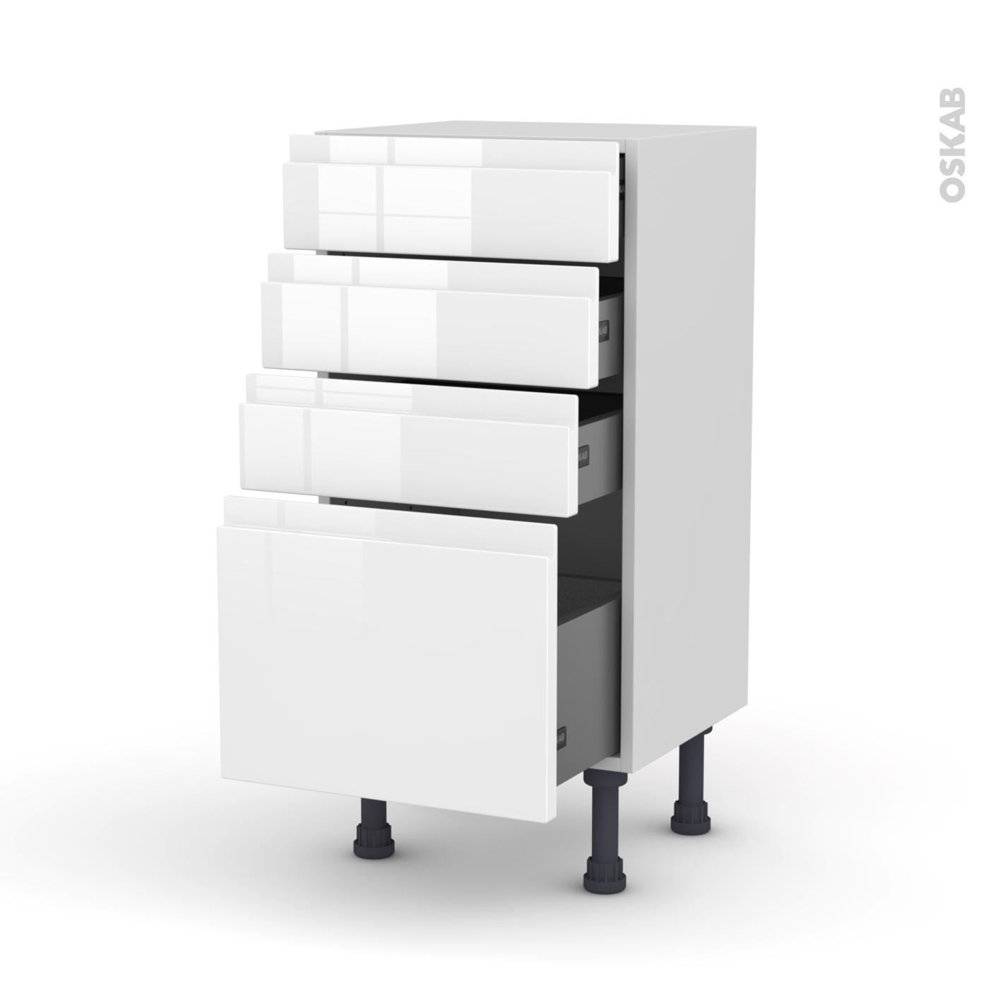 meuble de cuisine bas ipoma blanc brillant 4 tiroirs l40 x h70 x p37 cm