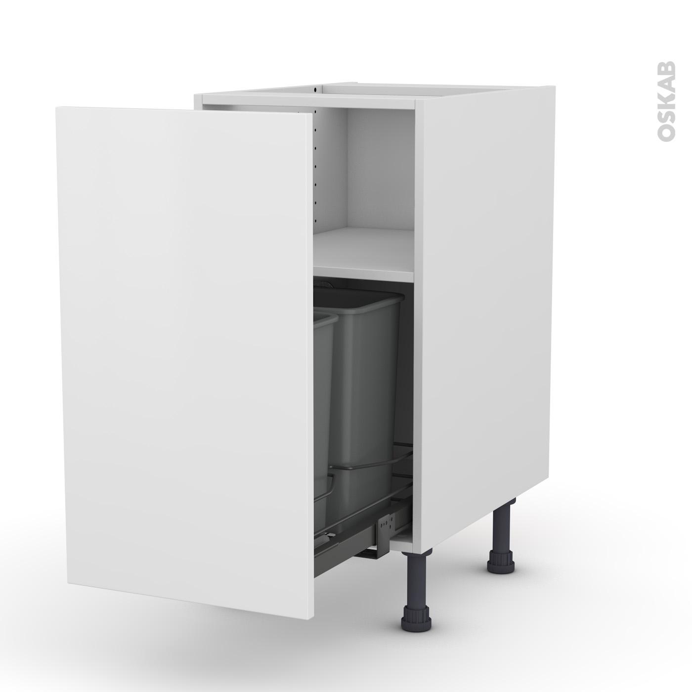 meuble de cuisine poubelle coulissante ginko blanc 1 porte l40 x h70 x p58 cm