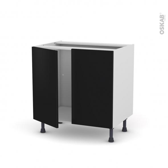 meuble de cuisine sous evier ginko noir 2 portes l80 x h70 x p58 cm