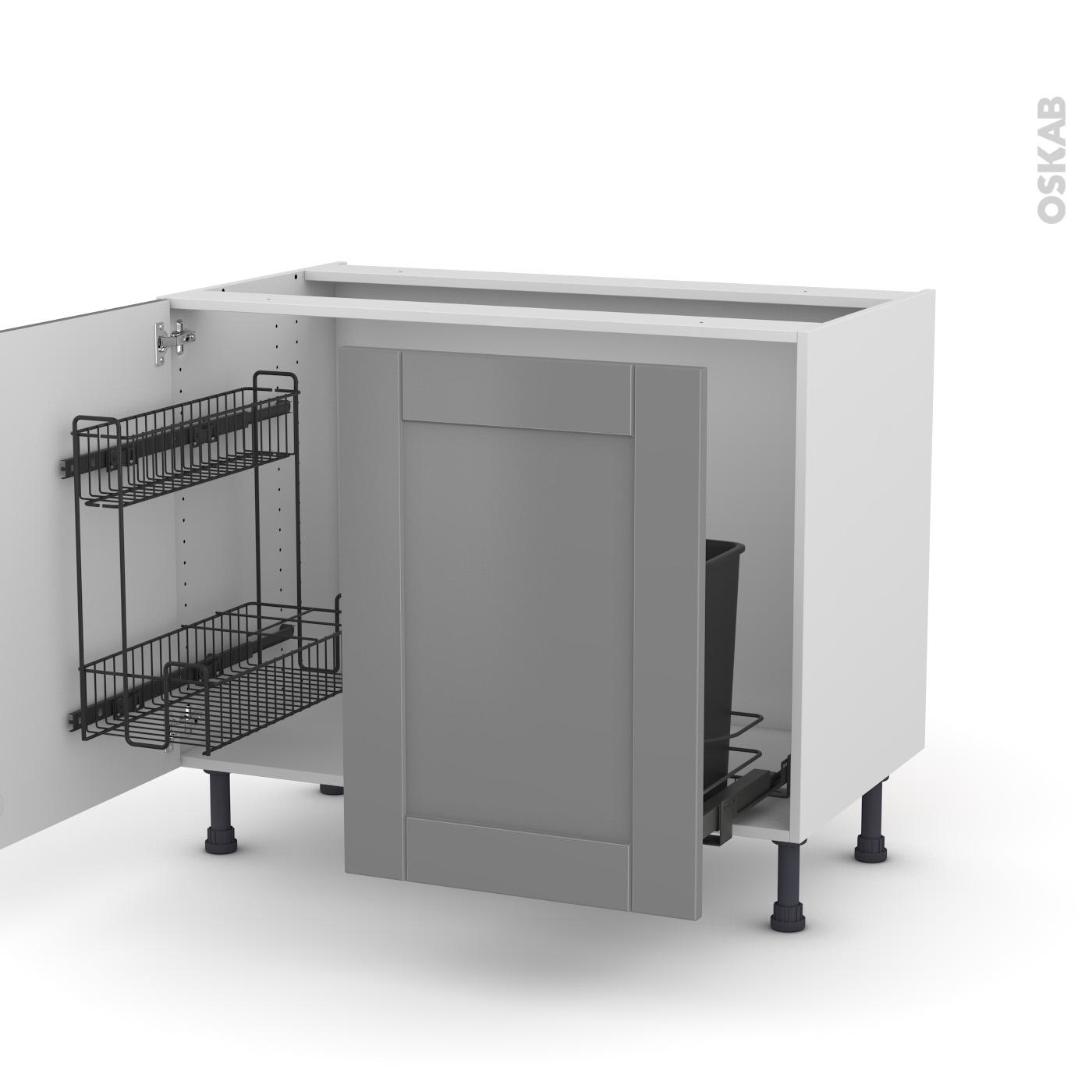 meuble de cuisine sous evier filipen gris 2 portes lessiviel poubelle coulissante l100 x h70 x p58 cm