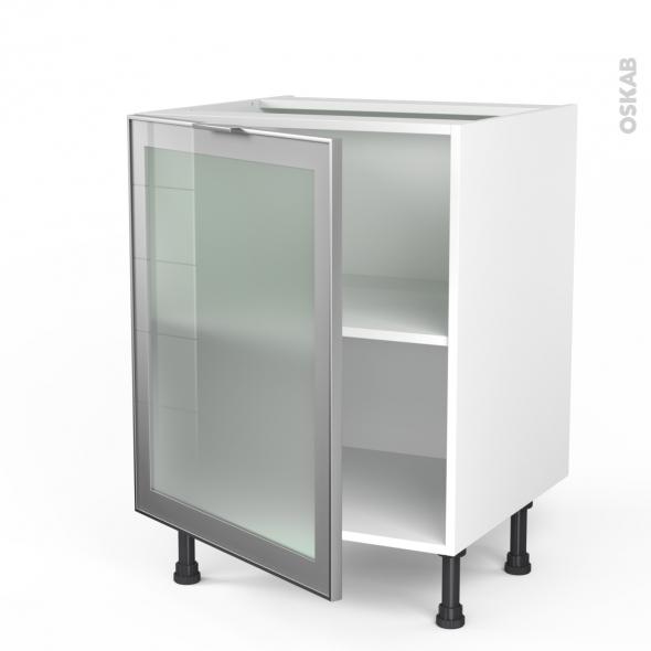 meuble de cuisine bas vitre facade alu 1 porte l60 x h70 x p58 cm sokleo