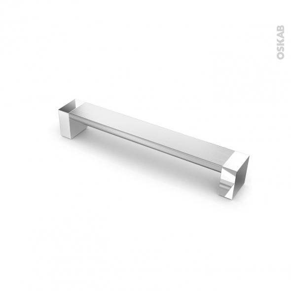 poignee de meuble de cuisine n 10 alu mat avec embout chrome 17 1 cm entraxe 160 mm sokleo