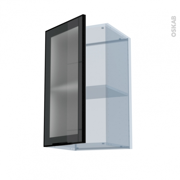 Sokleo Facade Alu Noir Vitree Kit Renovation 18 Meuble Haut Ouvrant H70 1 Porte L40xh70xp37 5 Oskab
