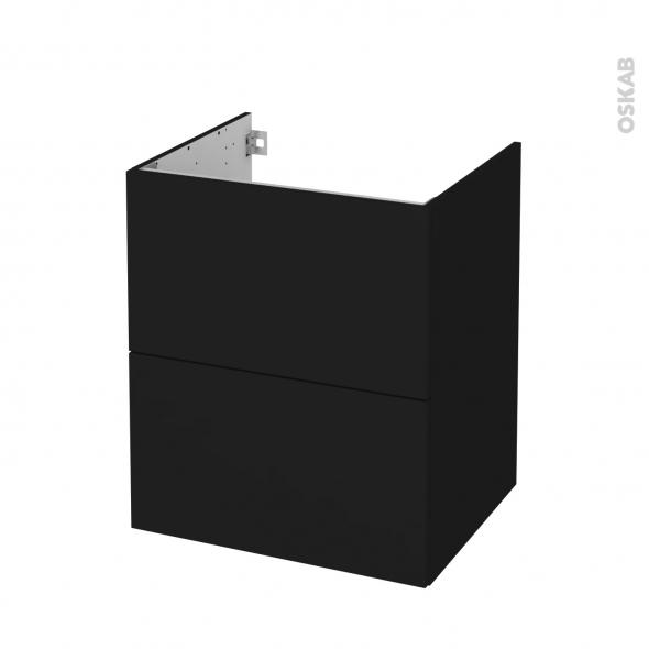 meuble de salle de bains sous vasque ginko noir 2 tiroirs cotes decors l60 x h70 x p50 cm