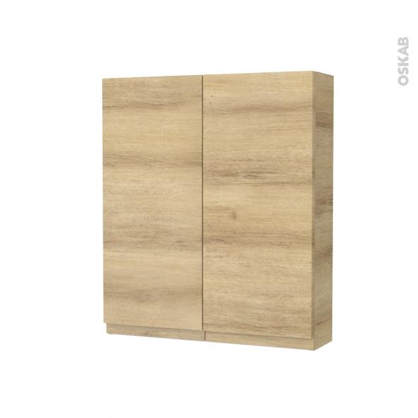 armoire de toilette rangement haut ipoma chene naturel 2 portes cotes decors l60 x h70 x p17 cm