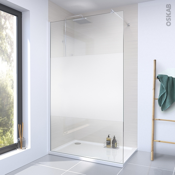 paroi de douche a l italienne 140 cm verre depoli 8 mm 1 barre de fixation profiles chromes atlas 2