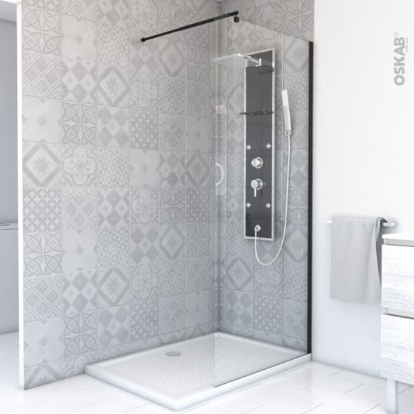 paroi de douche a l italienne 80 cm verre transparent 8 mm 1 barre de fixation profiles noirs atlas 2
