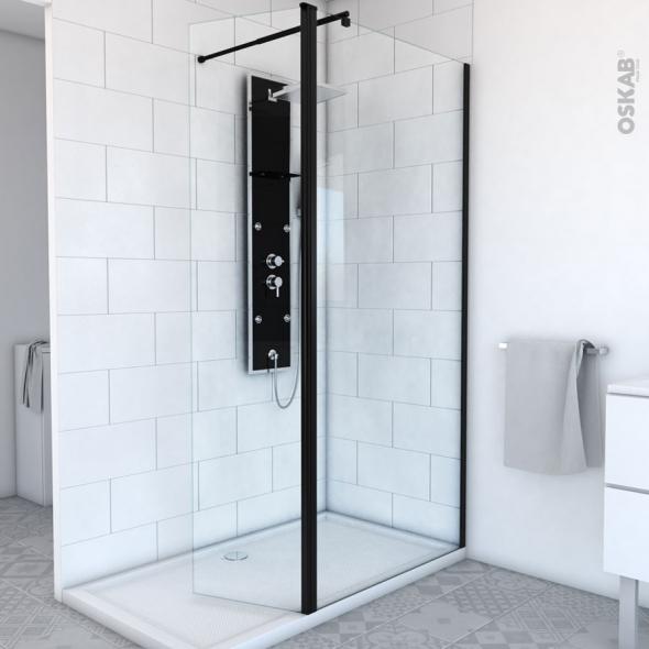 paroi de douche a l italienne 90 cm volet verre transparent 8 mm 1 barre de fixation profiles noirs atlas 2