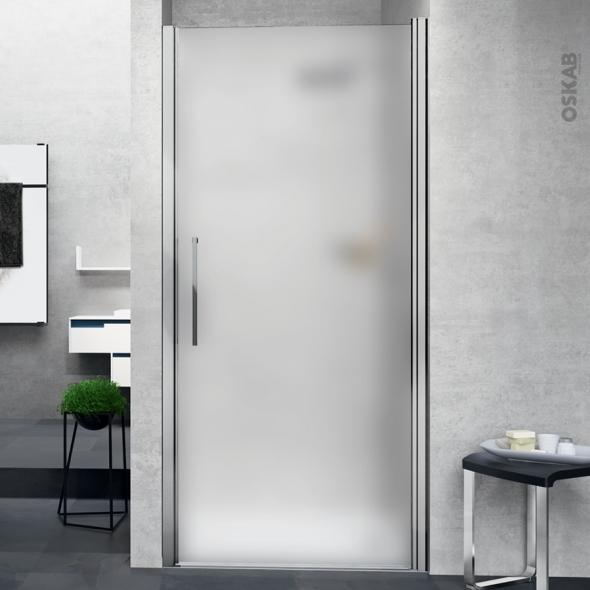 porte de douche pivotante novellini 80 cm verre depoli profiles chromes