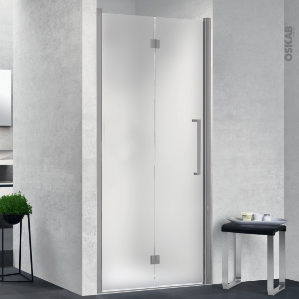 porte de douche pliante novellini 80 cm gauche verre depoli profiles chromes