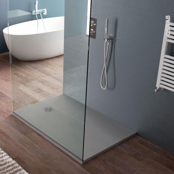 receveur de douche extra plat cuba resine rectangulaire 100x80 cm gris
