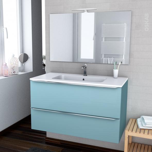 ensemble salle de bains meuble keria bleu plan vasque resine miroir et eclairage l100 5 x h58 5 x p50 5 cm