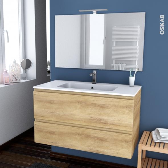 Ensemble Salle De Bains Meuble Ipoma Bois Plan Vasque Resine Miroir Et Eclairage L100 5 X H58 5 X P50 5 Cm Oskab