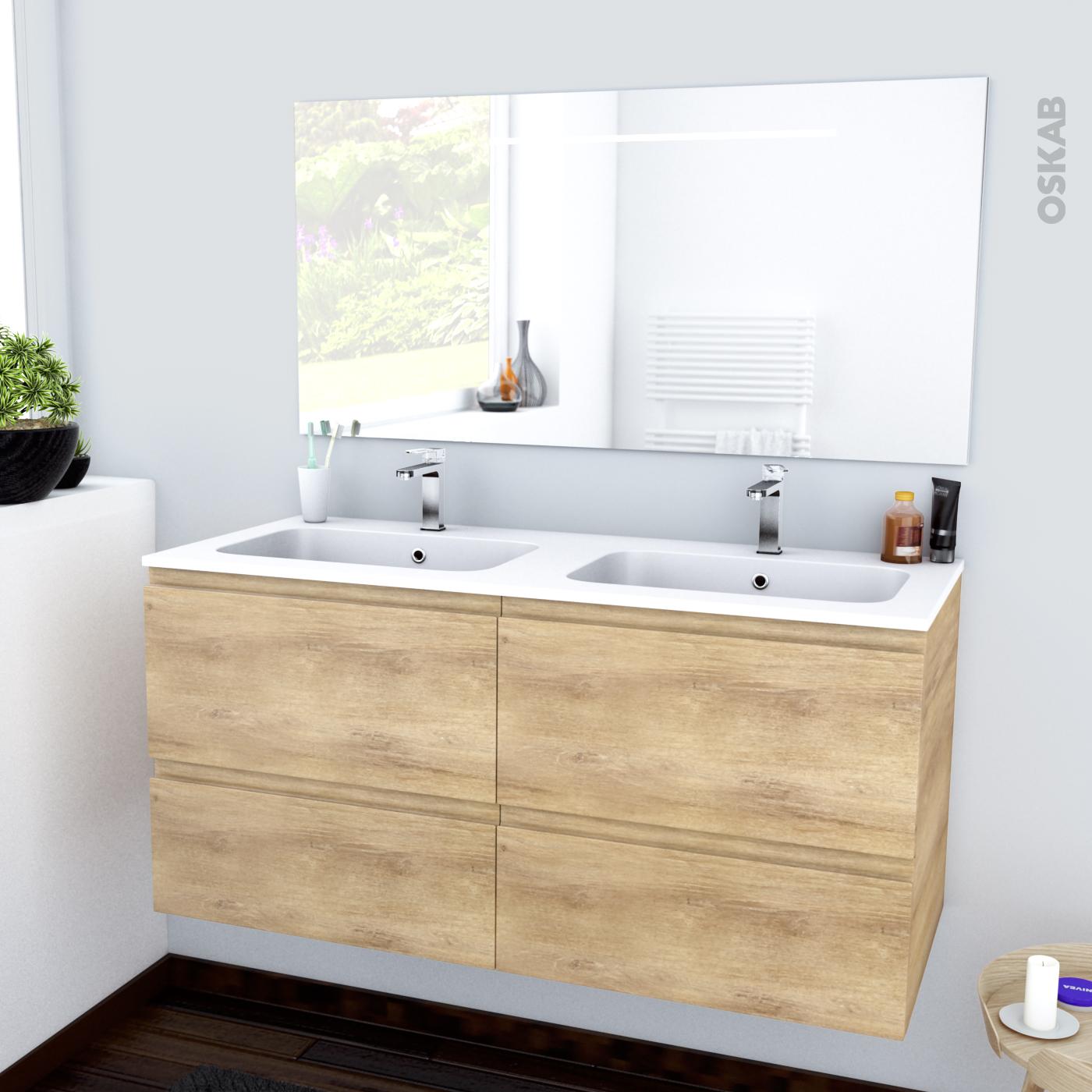 Ensemble Salle De Bains Meuble Ipoma Bois Plan Double Vasque Resine Miroir Lumineux L120 5 X H58 5 X P50 5 Cm Oskab