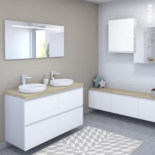 Ensemble Salle De Bains Meuble Ipoma Blanc Mat Plan De Toilette Chene Clair Ikoro Double Vasque Miroir Lumineux L120 X H70 X P50 Cm Oskab
