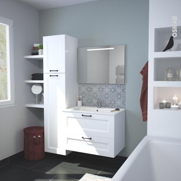 ensemble salle de bains meuble static blanc plan vasque resine miroir lumineux l80 5 x h58 5 x p50 5 cm