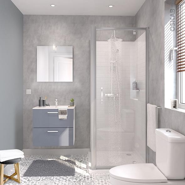 ensemble salle de bains meuble milo gris plan vasque ceramique miroir eclairage robinet chrome l61 5 x p46 x h56 5 cm