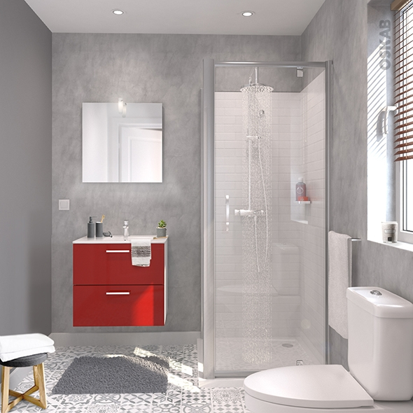 ensemble salle de bains meuble milo rouge plan vasque ceramique miroir eclairage robinet chrome l61 5 x p46 x h56 5 cm