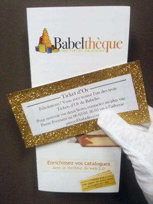 Où Babelio lance une loterie au congrès de l'ABF et glisse trois tickets d'or dans le sac des bibliothécaires