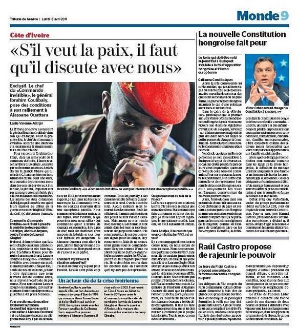 Entretien avec Ibrahim Coulibaly par Leslie Varenne (La Tribune de Genève)