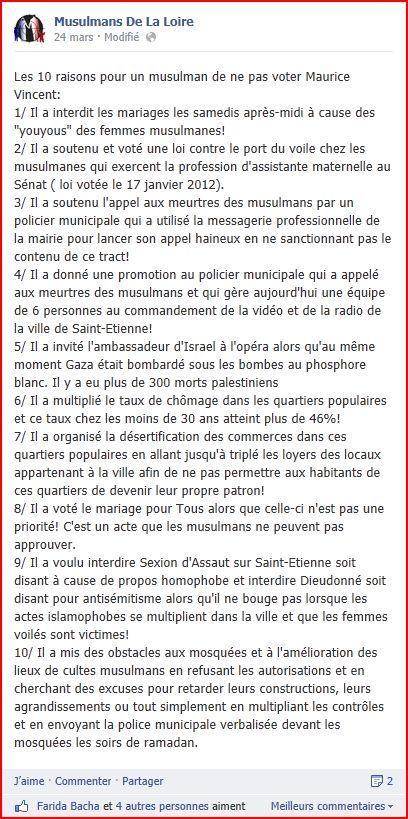 Musulmans de la Loire. le post JPG Elections à Saint Etienne : Musulmans de la Loire, les raisons de la colère