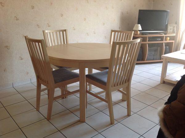 table ronde ikea bjursta avec rallonge 4 chaises a 280