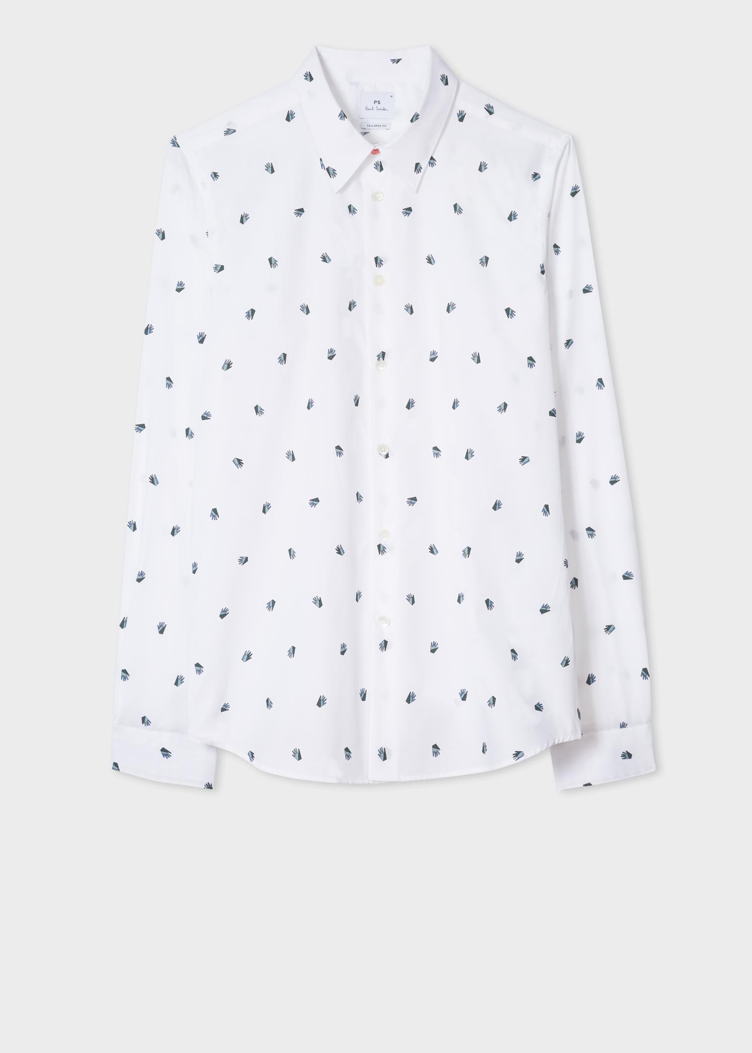 Men S Tailored Fit White Palm Print Cotton Shirt