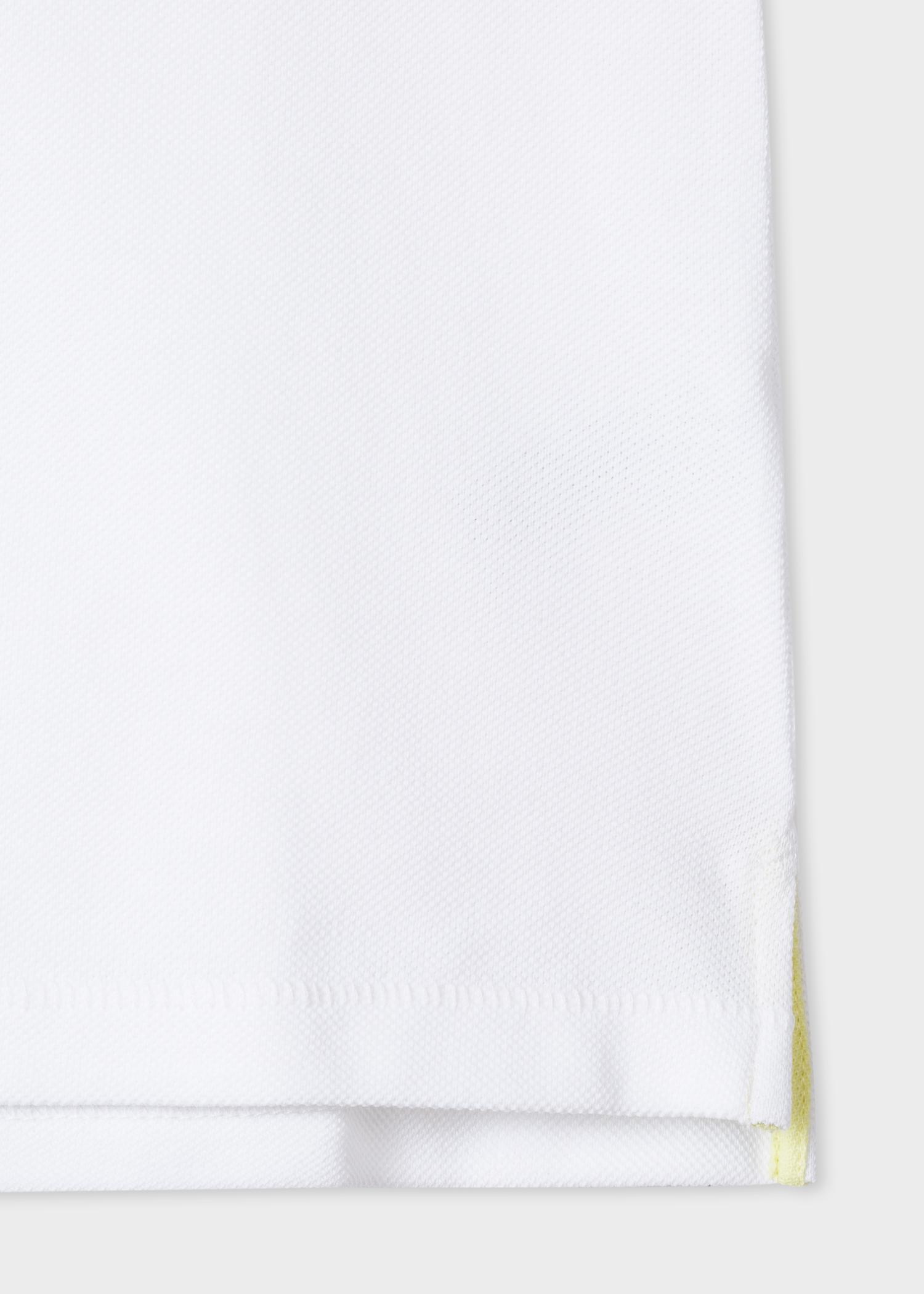 Men S Slim Fit White Organic Cotton Pique Zebra Logo Polo