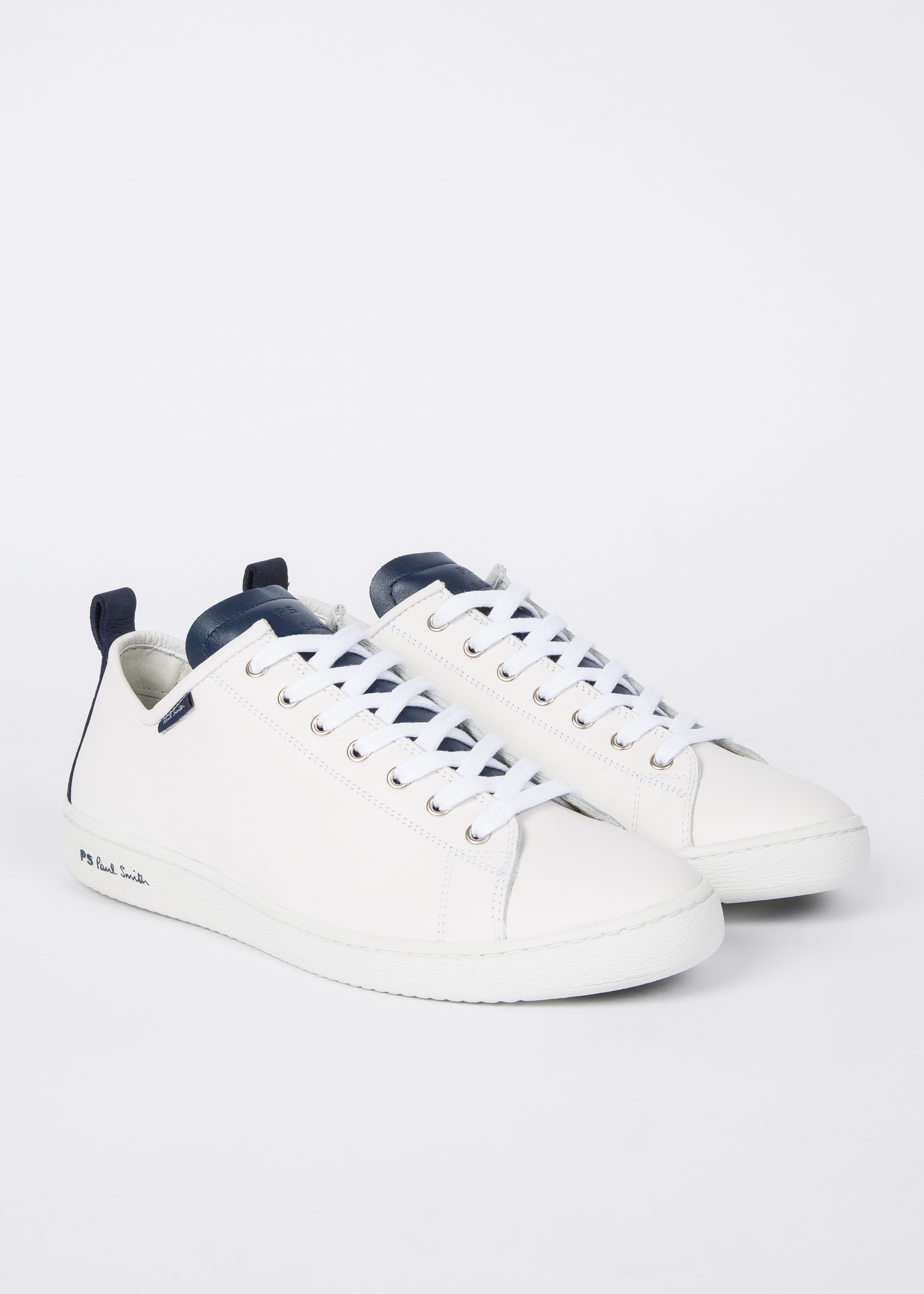 Men S White Calf Leather Miyata Trainers With Navy
