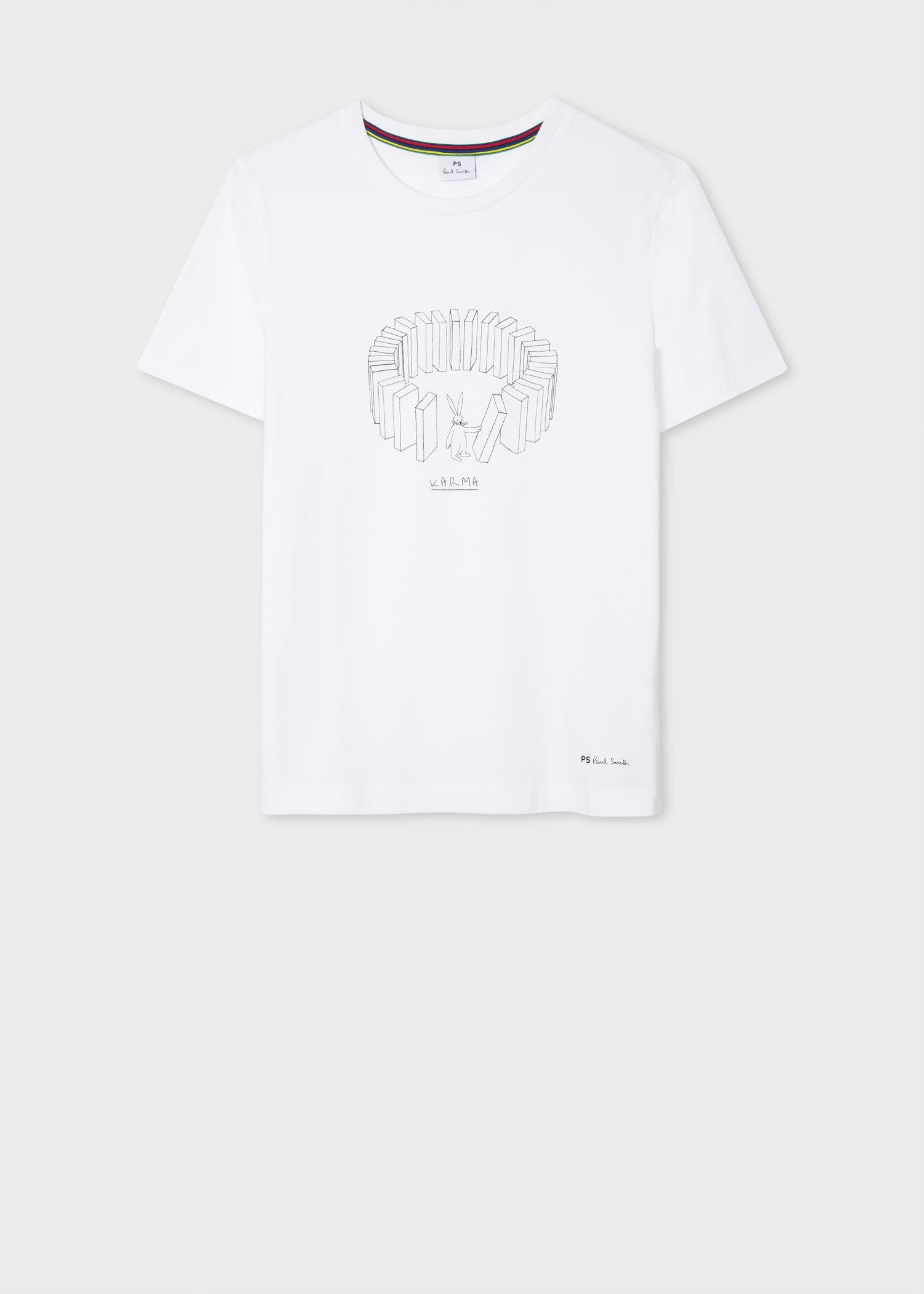 Women S White Karma Print Cotton T Shirt
