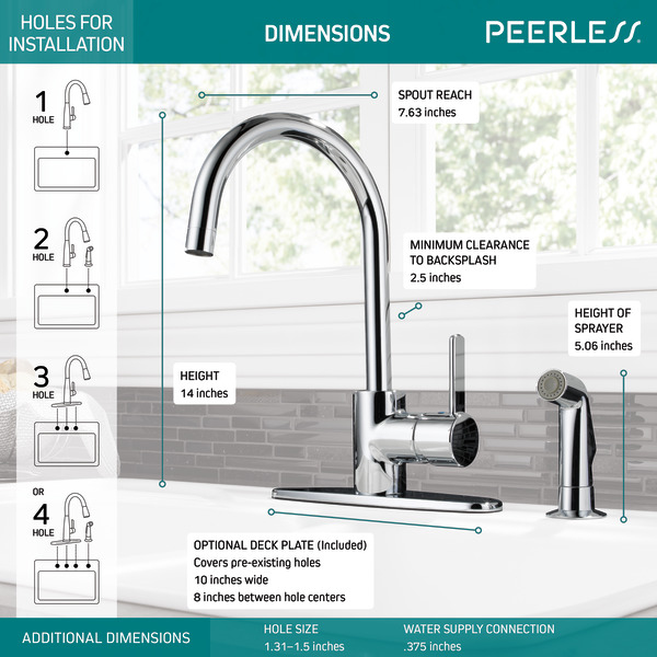 single handle kitchen faucet with spray