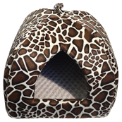 Rosewood Leopard Print Pyramid Cat Bed