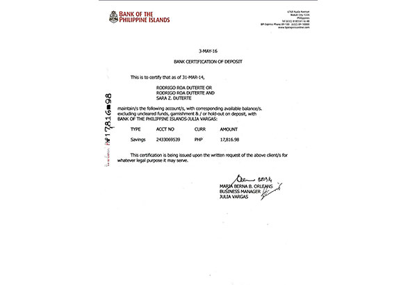 Bpi peace and freedom a bpi bank certification of deposit shows mayor rodrigo dutertes account which had only p17817 a few days after large deposits were allegedly made yadclub Gallery
