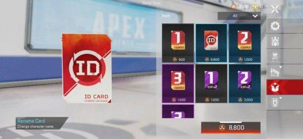 Apex Legends Mobile rename card