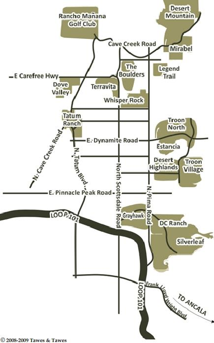 Scottsdale Arizona Golf Communities Map Scottsdale AZ Real Estate