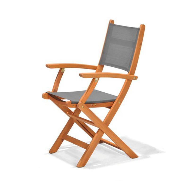 chaise pliante avec bras en textilene et eucalyptus chillvert wood 60 65 x 54 00 x 93 20 cm