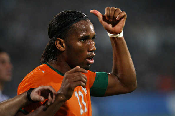 Didier Drogba in action for Cote d'Ivoire
