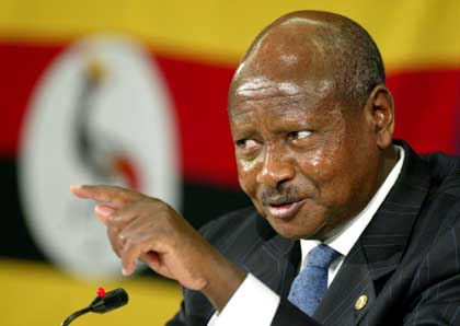 President of Uganda Yoweri K Museveni gestures as he speaks during a news conference in a hotel in St Julians, Valletta, Malta on the first day of the Commonwealth Heads of Government Meeting (CHOGM), Friday Nov. 25, 2005. CHOGM was opened by Britain's Queen Elizabeth II on Friday and the event is due to hosted by Uganda in two years time. (AP Photo/Martin Cleaver)