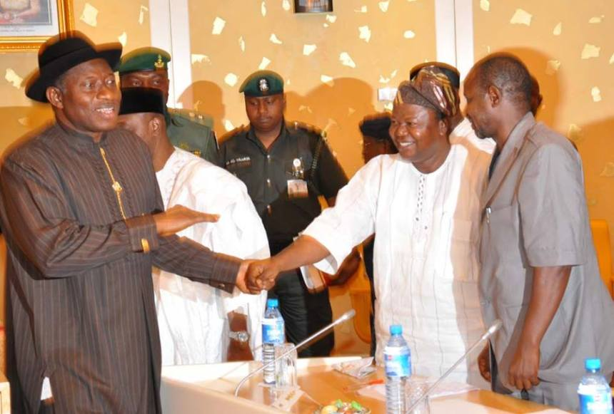 President Goodluck Jonathan and members of ASUU at the presidential villa