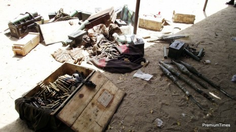 Scene of a boko haram attack on Giwa Barracks today, March 14th 2014.. Photo: Courtesy: Defence Head Quarters.