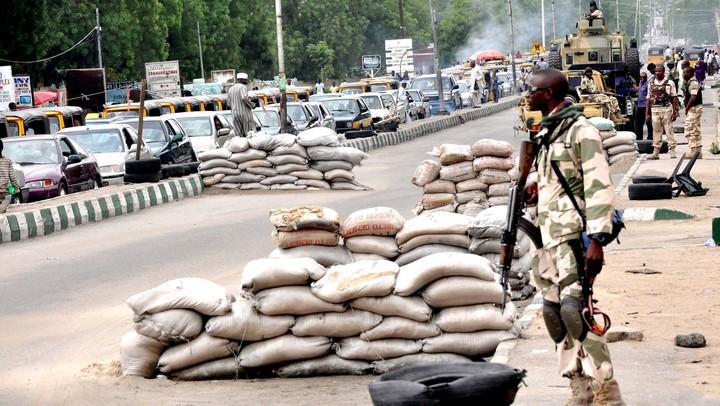 Nigerian soldiers on guard in Maiduguri