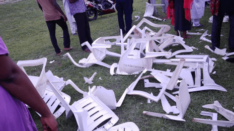 The opposing group smashed chairs as they attacked #BringBackOurGirls campaigners