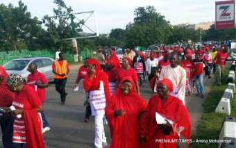 #BringBackOurGirls protest in 2014 prior to the 2015 presidential election