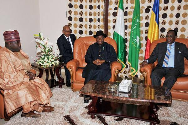 Ex-Governor Ali Modu Sheriff and President Jonathan at a meeting with the President of Chad, Idris Deby