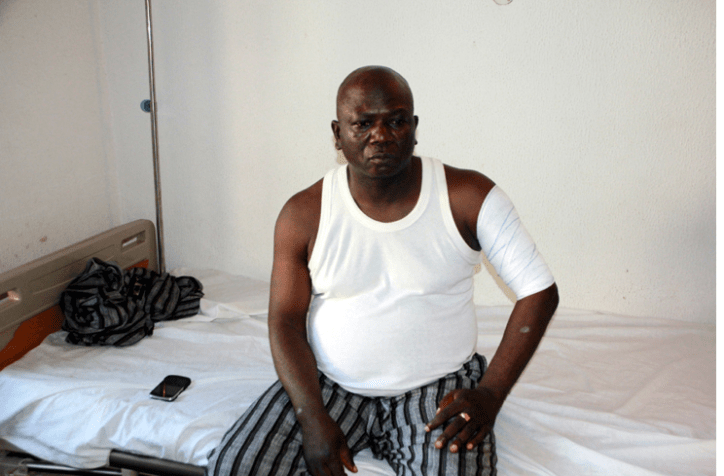 E-ELEVEN VICTIM 2 Mr. Femi Ajayi, one of the e-Eleven members attacked by suspected PDP hoodlums at the high court, Ado-Ekiti.