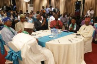Buhari surrounded by close political allies