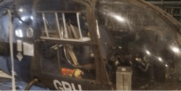 Chopper inside grounded Chad-bound plane... Photo Credit: Madquest @Mansur295 via twitter
