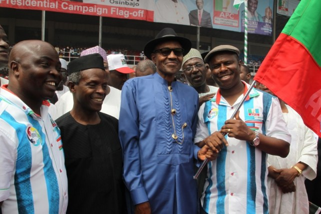 Image result for Buhari and Osinbajo in campaign pictures