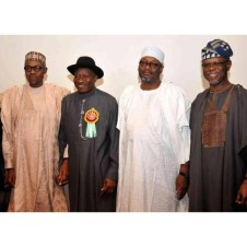 General Muhammadu Buhari, President Goodluck Jonathan, PDP Chairman Adamu Mu'azu and APC Chairman John Oyegun at the 2015 Elections Sensitization Workshop on Non-Violence